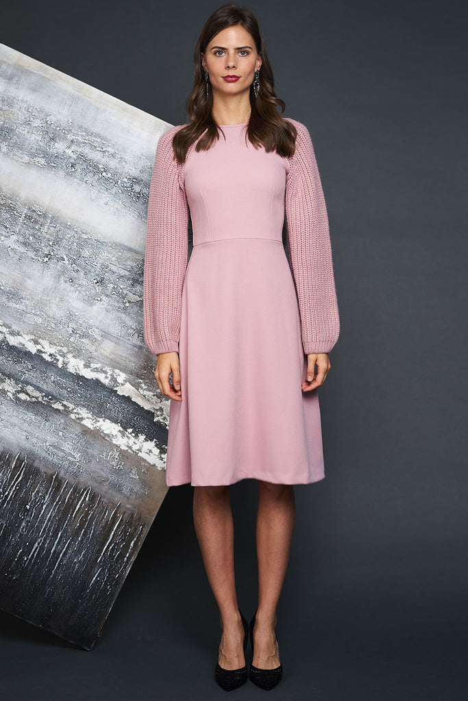 Sweater Sleeve Crepe Dress - Blush