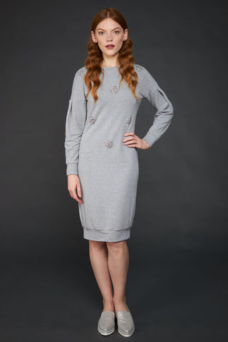 FINAL SALE Crystal Embellished Sweatshirt Dress