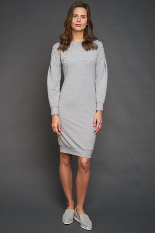 FINAL SALE Pearl Embellished Sweatshirt Dress