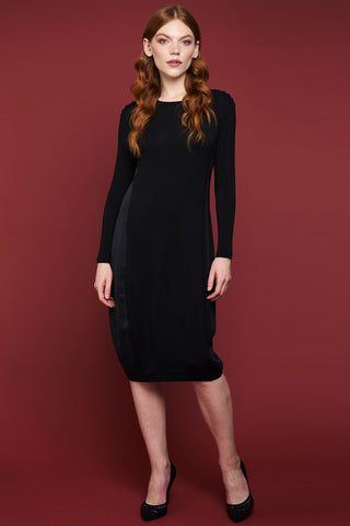 Satin Panel Jersey Dress - Black