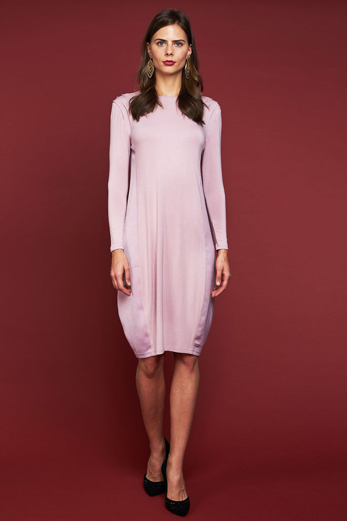FINAL SALE Satin Panel Jersey Dress - Blush