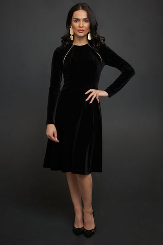 Velvet Dress with Zippers in Black