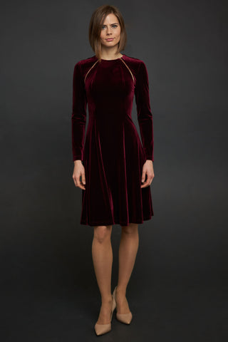 Velvet Dress with Zippers in Crimson