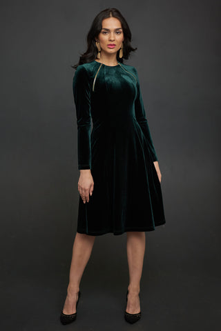 Velvet Dress with Zippers in Emerald Green