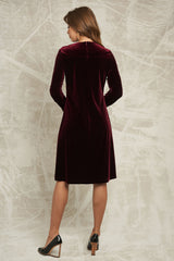 Velvet Dress with Ruffle Sleeve in Burgundy