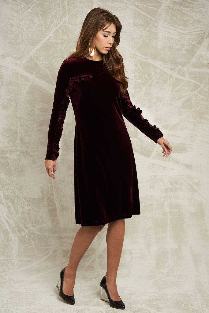 FINAL SALE Velvet Dress with Ruffle Sleeve in Burgundy