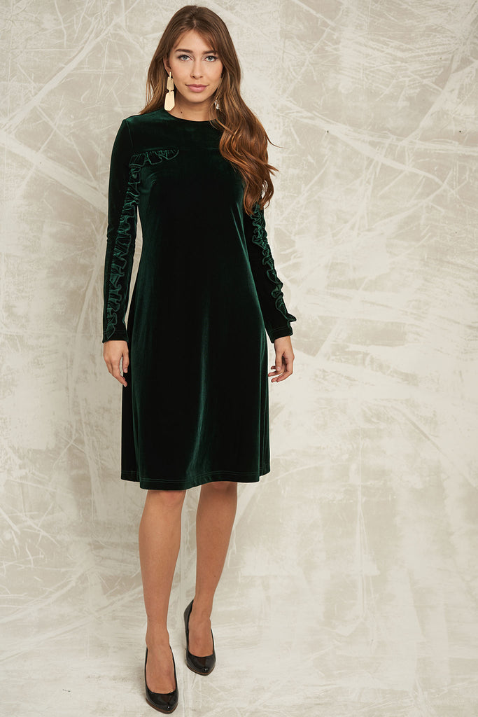 Velvet Dress with Ruffle Sleeve in Emerald Green