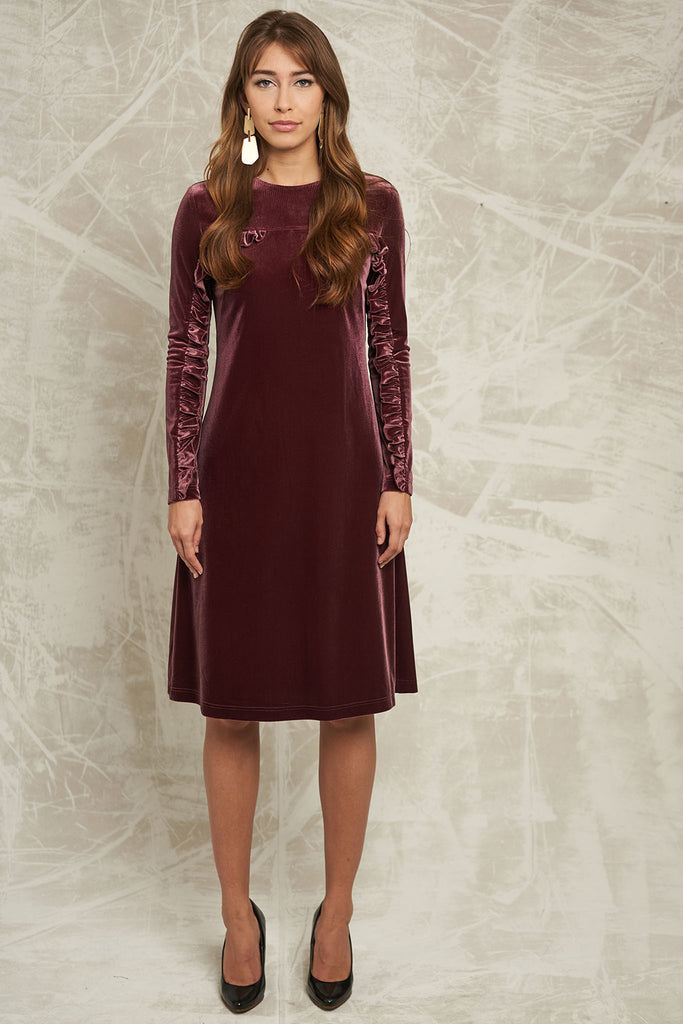 FINAL SALE Velvet Dress with Ruffle Sleeve in Mauve