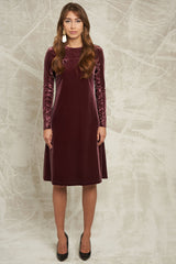 Velvet Dress with Ruffle Sleeve in Mauve