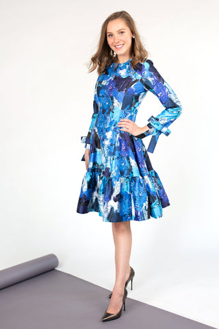 Ruffled Hem Dress in Blue Abstract Print