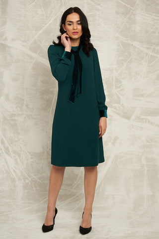 Shift Dress with Velvet Detail in Emerald Green