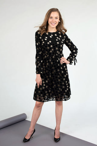 Textured Chiffon Dress in Velvet Dot
