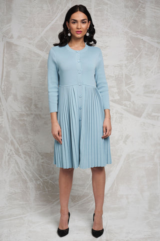 Pleated Sweater Dress in Mint