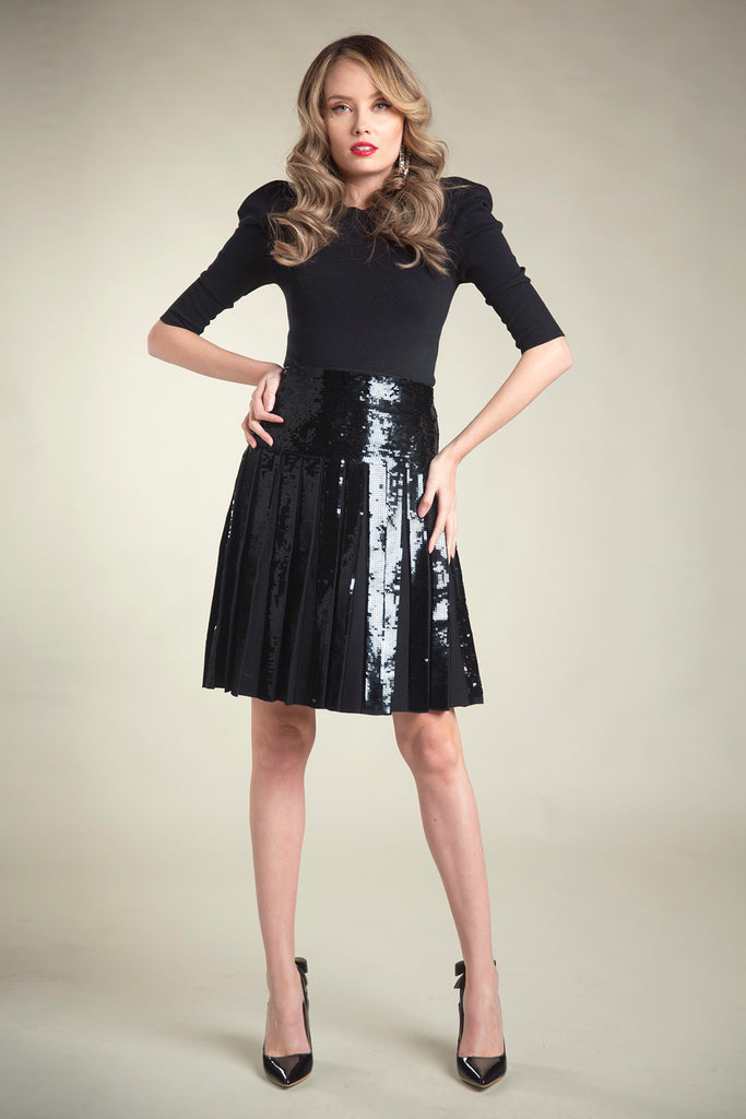 The Infinity Skirt in Black Sequin