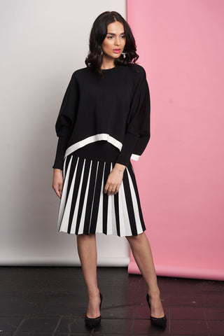 Sweater Top and Pleated Skirt Set