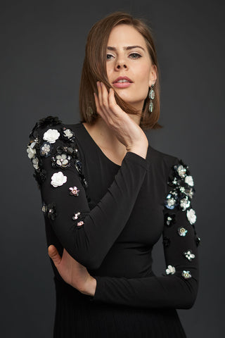 FINAL SALE Embellished Bodysuit in Black