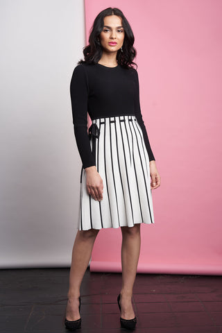 FINAL SALE Black and White Sweater Dress