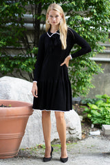 Collared Sweater Dress with Neck Ties