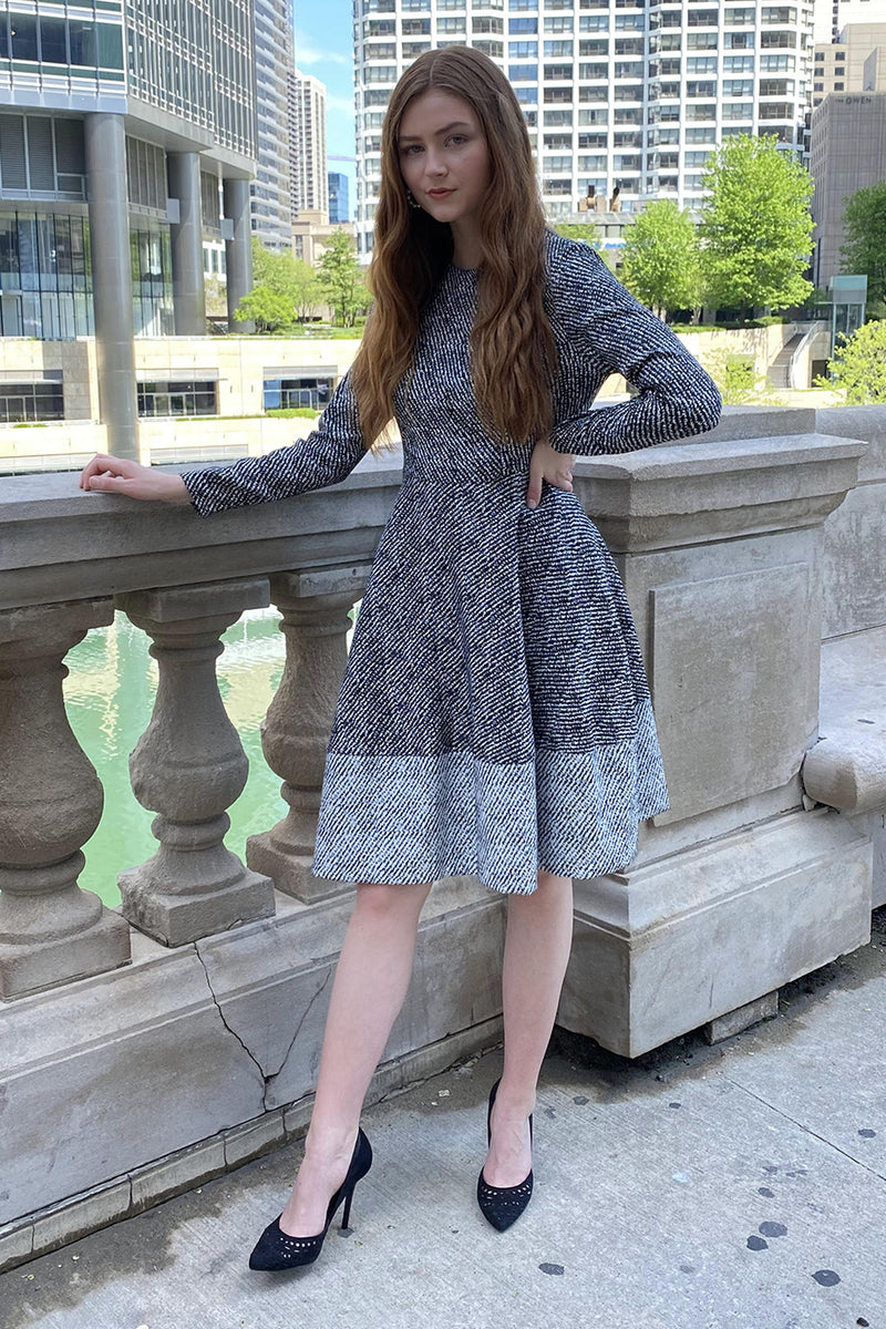 Black and White Brocade Flared Dress