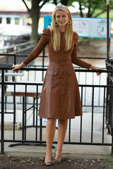 Vegan Leather Skirt in Camel