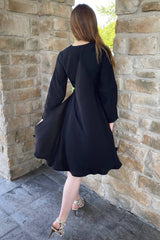Cape Dress with Belt in Black