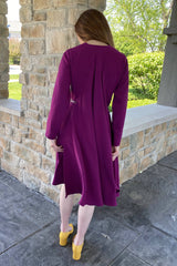 Cape Dress with Belt in Magenta