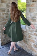 Cape Dress with Belt in Olive Green