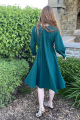 Cape Dress with Belt in Jade