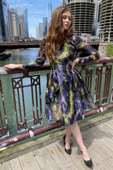 Confetti Print Satin and Charmeuse Dress