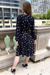 Heart Print Crepe Dress