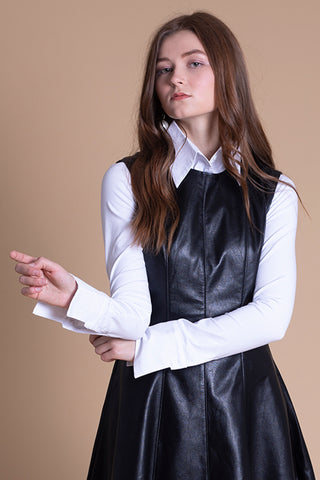 Cotton Blouse with Stretch Jersey Sleeves