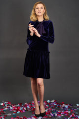 Drop Waist Stretch Velvet Dress (More Colors Available)