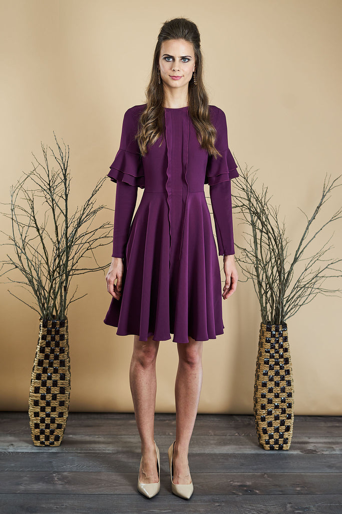 FINAL SALE Stretch Crepe Dress with Sleeve Ruffle