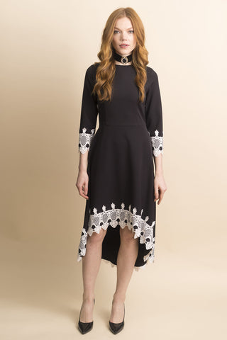 High/Low Crepe Dress with Lace Trim