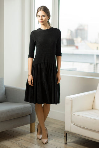 Black Sparkle Tiered Jersey Dress