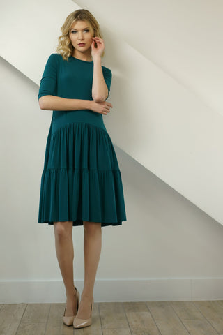 FINAL SALE Green Tiered Jersey Dress