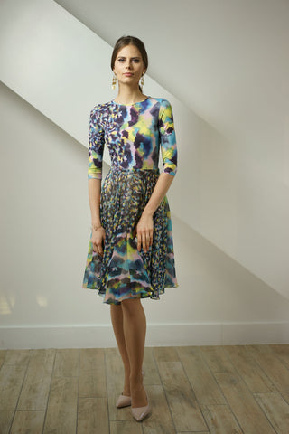 Pastel Print Jersey and Chiffon Dress
