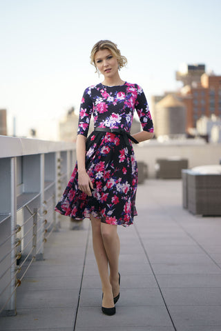 Floral Print Jersey and Chiffon Dress
