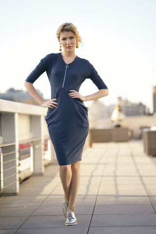 Navy Heather Draped Jersey Dress
