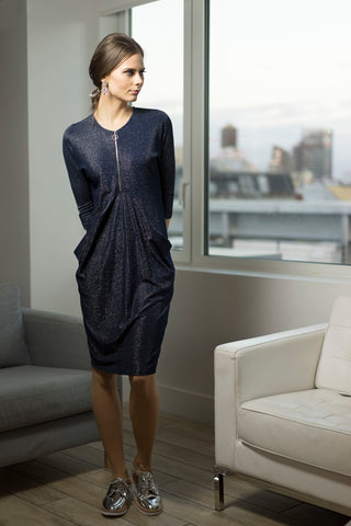 Sparkle Navy Draped Jersey Dress