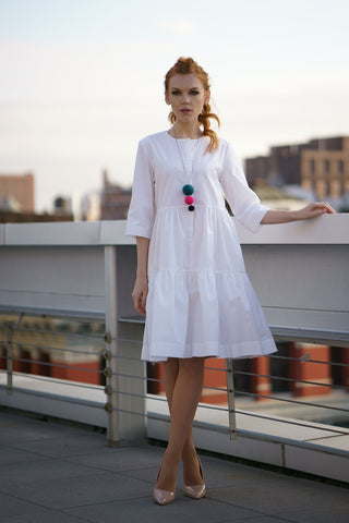 Lined White Cotton Dress