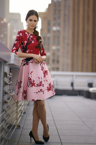 Pink and Red Printed Flared Dress