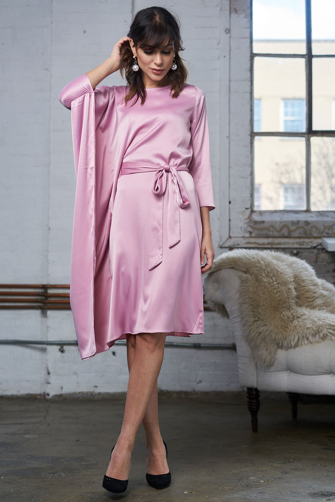 FINAL SALE Satin Cape Dress - Blush