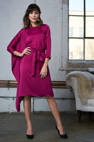 FINAL SALE Satin Cape Dress - Fuchsia