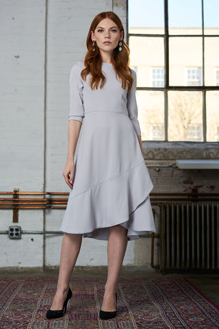 Crepe Dress with Ruffle - Silver