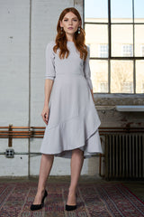 FINAL SALE Crepe Dress with Ruffle - Silver