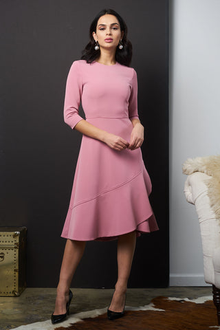 FINAL SALE Crepe Dress with Ruffle - Light Mauve