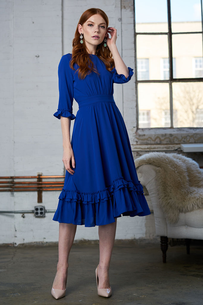 FINAL SALE Ruffled Crepe Dress - Cobalt Blue