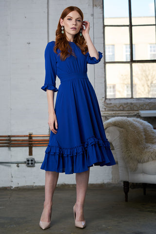 Ruffled Crepe Dress - Cobalt Blue
