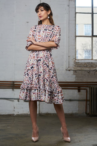 FINAL SALE Ruffled Crepe Dress - Butterfly Print